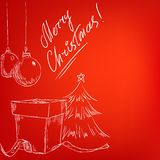 Christmas hand drawn card with red background Stock Photo