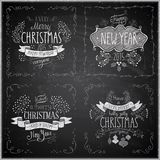 Christmas hand drawn card set - Chalkboard. Stock Image