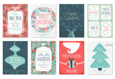 Christmas hand drawn card set. Royalty Free Stock Images