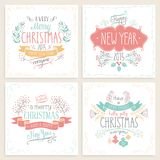 Christmas hand drawn card set. Stock Images