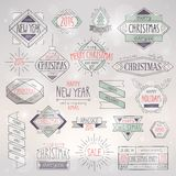 Christmas hand drawn card set. Vector illustration Stock Image