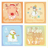 Christmas hand drawn card set. Vector illustration. Royalty Free Stock Photography