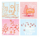 Christmas hand drawn card set. Vector illustration. Royalty Free Stock Images