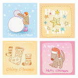 Christmas hand drawn card set. Vector illustration. Stock Photography