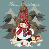 Christmas hand drawn card with snowmen for design Royalty Free Stock Image
