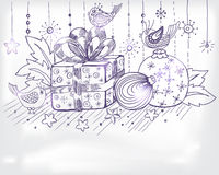 Christmas hand drawn card for xmas design. With balls, birds and present, illustration stock illustration