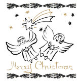 Christmas hand drawn cards. With angels, snowflakes, fir branch and Christmas star. Hand written words Merry Christmas. Vector illustration stock illustration
