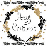 Christmas hand drawn cards. With snowflakes, fir branch and wreath. Hand written words Merry Christmas. Vector illustration royalty free illustration