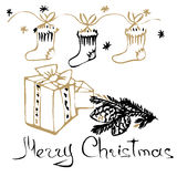 Christmas hand drawn cards. With Christmas socks, snowflakes, fir branch and gift box. Hand written words Merry Christmas. Vector illustration stock illustration