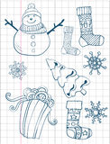 Christmas hand drawn collection. Gift boxes, socks and snowflakes. Xmas tree.  Stock Image