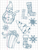 Christmas hand drawn collection. Gift boxes, socks and snowflakes. Xmas tree. Vector image. Royalty Free Stock Images