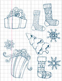 Christmas hand drawn collection. Gift boxes, socks and snowflakes. Xmas tree. Vector image. Royalty Free Stock Photos