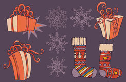 Christmas hand drawn collection. Gift boxes, socks and snowflakes. Xmas tree. Vector image. Stock Photo