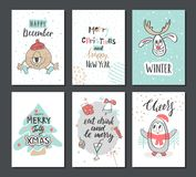 Christmas hand drawn cute cards with reindeer, Xmas tree, penguin and other items. Vector illustration. Royalty Free Stock Images