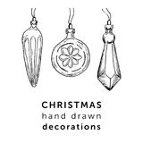 Christmas hand drawn decorations in simple style for your holidays design. Christmas hand drawn decorations royalty free illustration