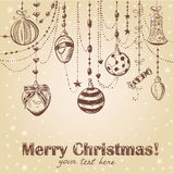 Christmas hand drawn decorative postcard Stock Image