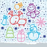 Christmas hand drawn design Stock Images