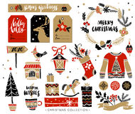 Christmas hand drawn design elements with calligraphy. Royalty Free Stock Photo