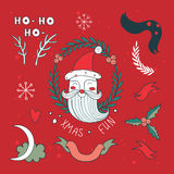 Christmas hand drawn design elements set with Santa Claus Royalty Free Stock Image