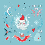 Christmas hand drawn design elements set with Santa Claus Stock Image