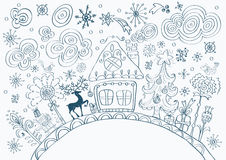 Christmas hand drawn doodle background Stock Photo