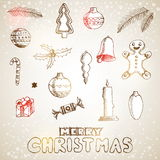 Christmas hand drawn doodles for xmas design. With decoration, V Royalty Free Stock Photos