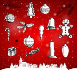 Christmas hand drawn doodles for xmas design. With paper city de Royalty Free Stock Photos