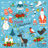 Christmas Hand Drawn Elements. With santa claus snowman winter clothes decorations on blue background isolated vector illustration Royalty Free Stock Image