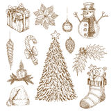 Christmas Hand Drawn Elements Set royalty free illustration