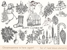 Christmas hand drawn elements set Xmas decorations for design. Christmas hand drawn elements set Xmas decorations, baubles, snowmen, birds, bells, sweets and Stock Images