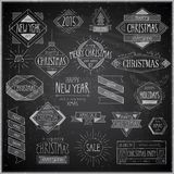 Christmas hand drawn emblems set - Chalkboard. Royalty Free Stock Photo