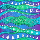 Christmas hand-drawn ethno pattern, tribal background. Merry Christmas design. It can be used for wallpaper, web page and others. Royalty Free Stock Images