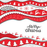 Christmas hand-drawn ethno pattern, tribal background. Merry Christmas design. It can be used for wallpaper, web page and others. Vector Royalty Free Stock Photo