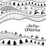 Christmas hand-drawn ethno pattern, tribal background. Merry Christmas design. It can be used for wallpaper, web page and others. Vector royalty free illustration