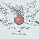 Christmas hand drawn fir tree for Christmas design. With ball and bow. Holiday invitation design royalty free illustration