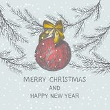 Christmas hand drawn fir tree for Christmas design. With ball and bow. Holiday invitation design vector illustration