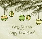 Christmas. Hand drawn fur tree for xmas design with balls Royalty Free Stock Image