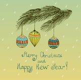Christmas. Hand drawn fur tree for xmas design with balls Royalty Free Stock Photo