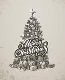Christmas hand drawn fur tree for xmas design Stock Photo