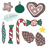Christmas hand drawn gifts style holiday season decoration vector illustration. Royalty Free Stock Photography