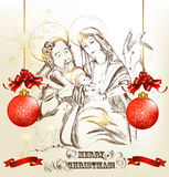 Christmas hand drawn greeting card with holy family Royalty Free Stock Image