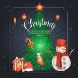 Christmas Hand Drawn Illustration Stock Photography