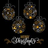Christmas hand drawn lettering. Christmas tree decoration, snowflakes, gifts. Golden glitter texture. Winter holidays. Vector illustration EPS10 vector illustration