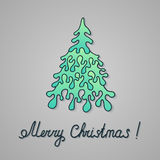 Christmas Hand-Drawn Paper Firtree. New Year Drawing Greeting Card with Pine Tree Stock Images