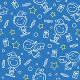 Christmas hand drawn pattern Stock Photos