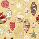 Christmas hand-drawn pattern with balls Royalty Free Stock Photos