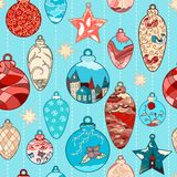 Christmas hand-drawn pattern with balls Royalty Free Stock Photography