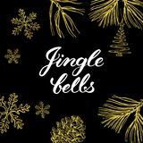 Jingle bells! Hand drawn graphic elements and lettering. Stock Photos