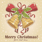 Christmas hand drawn retro postcard Royalty Free Stock Images