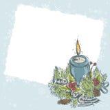 Christmas hand drawn retro postcard Stock Images